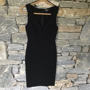 Lulu's Black scalloped midi dress